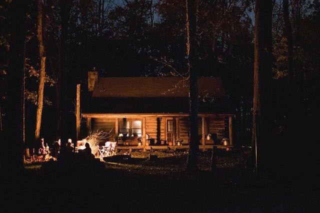 cabin woods dark night