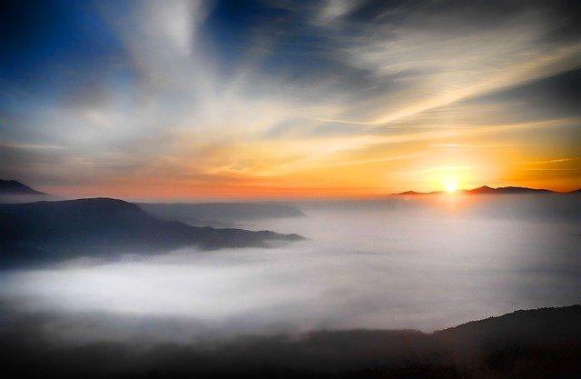 clouds sunset fog haze