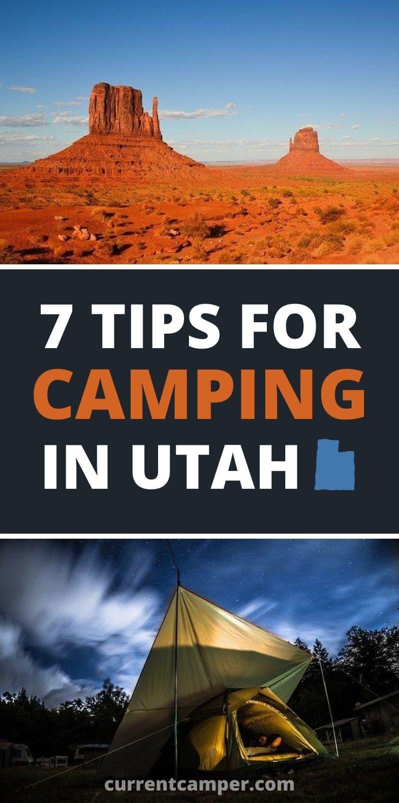 7 tips for camping in utah Pinterest image