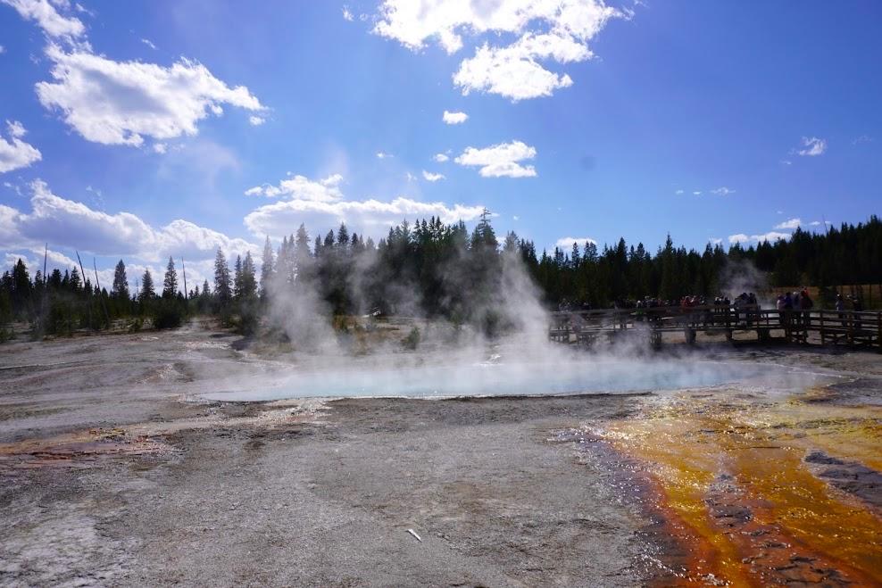 HOT SPRINGS ORANGE TURQUOISE NATURE STEAM LAKE