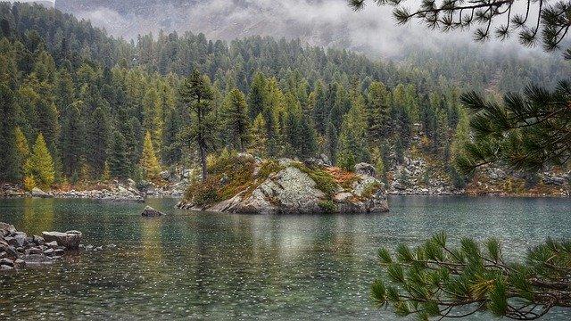 raining nature camping lake