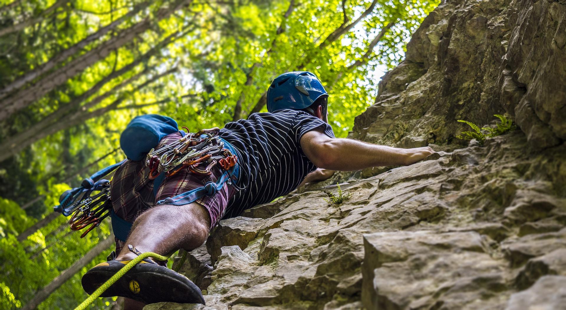 rock climbing woods pixabay