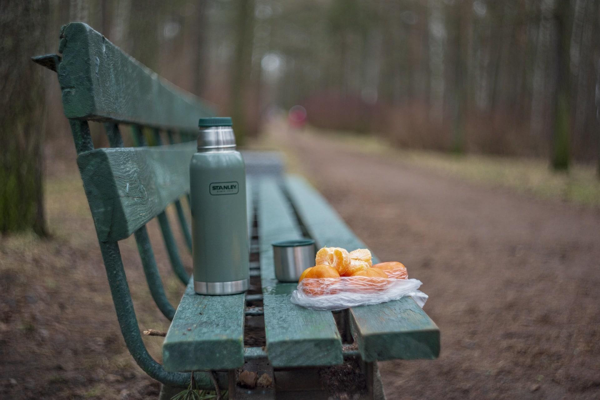 mandarin oranges thermos fruit bench pixabay