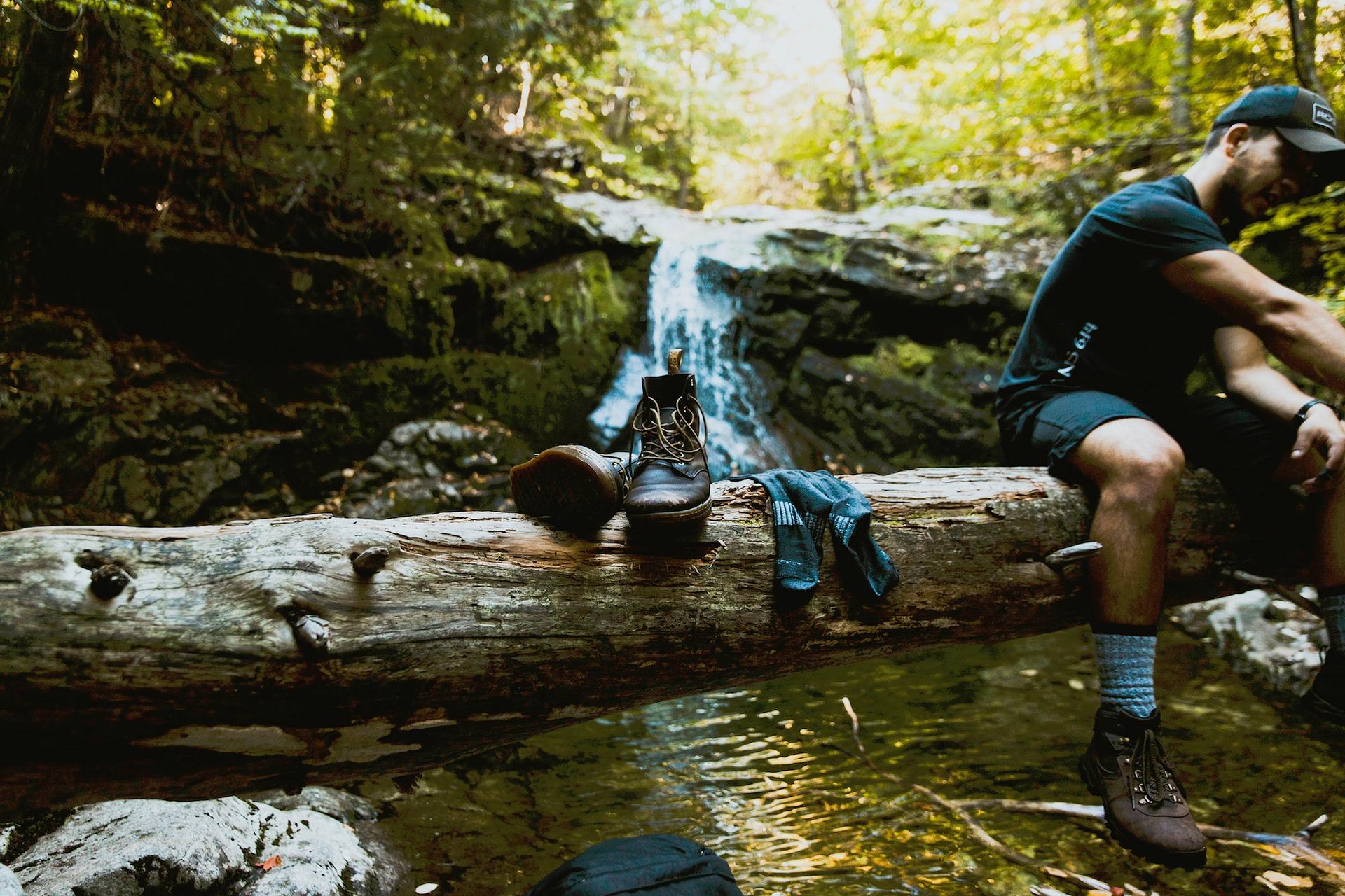 hiking boots waterfall pixabay
