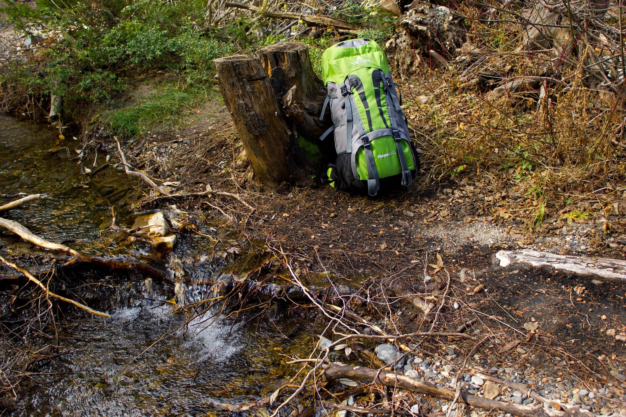 backpack hiking creek flickr