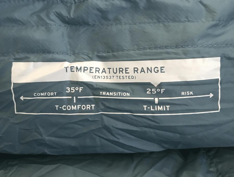 en rated sleeping bag for warmth
