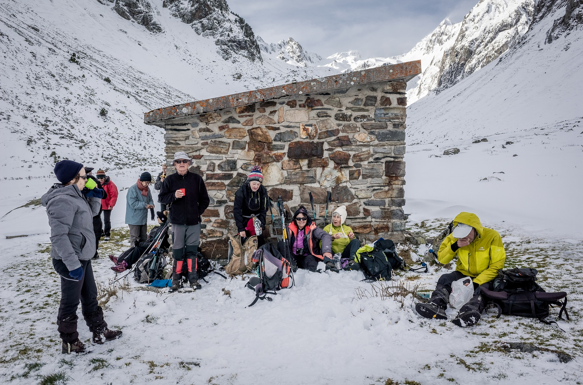 hiking group shelter snow winter