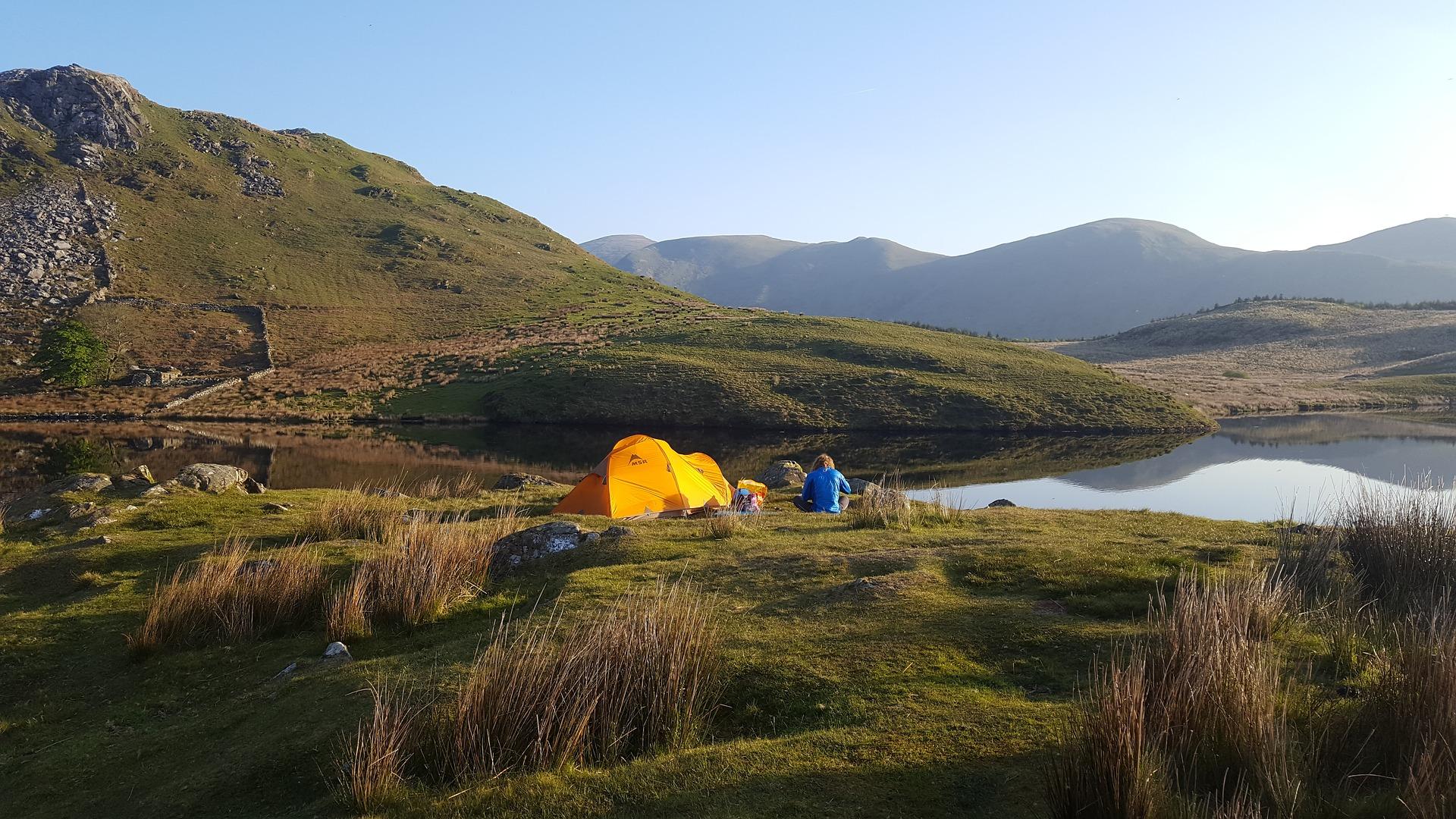 tent wilderness lake camping hike