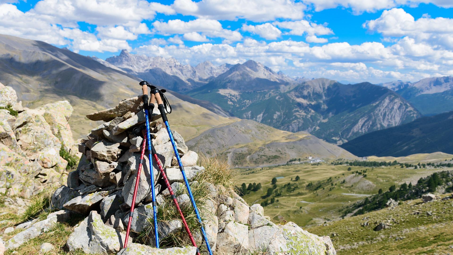 hiking pole mountain trekking pixabay