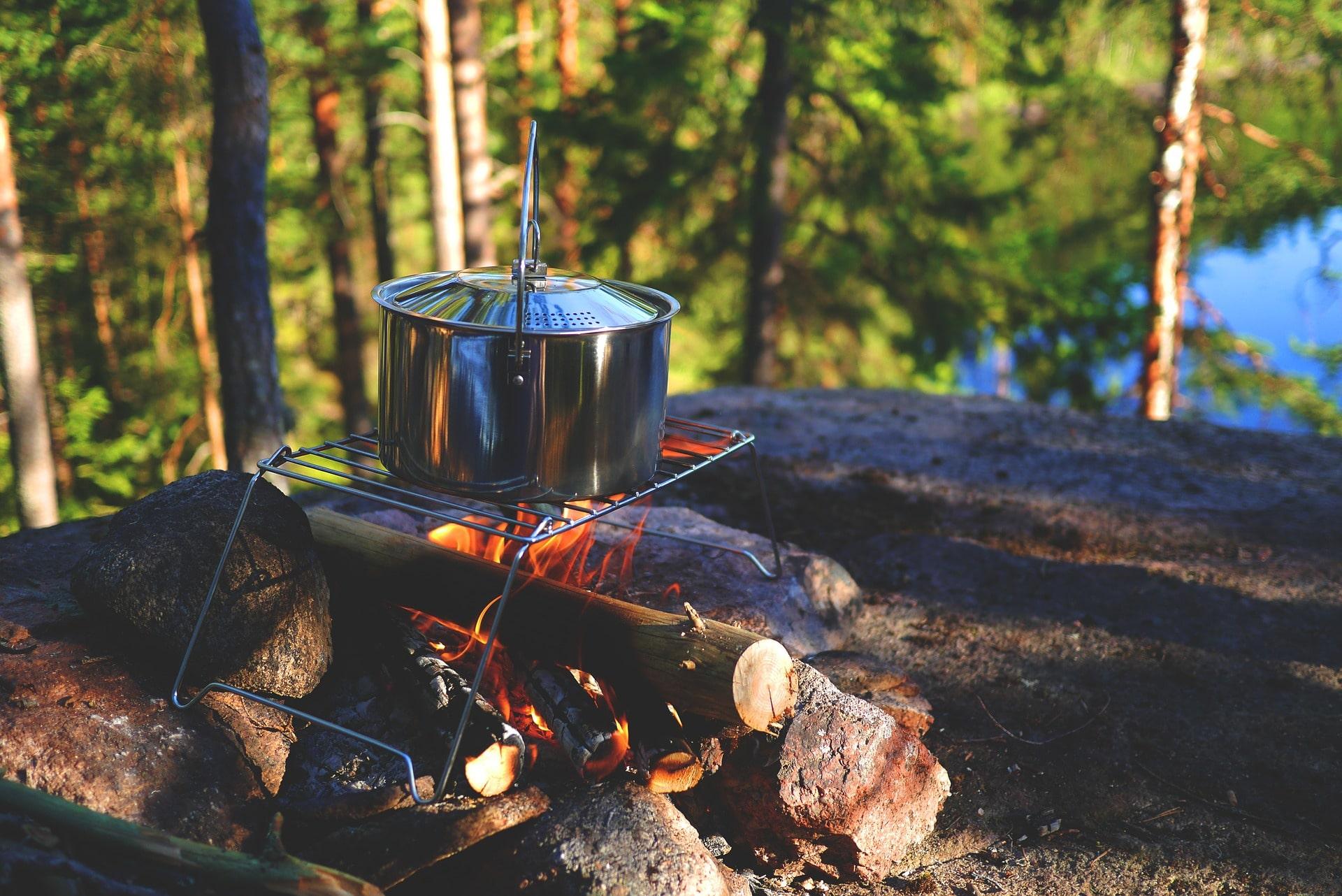 camping cook pot campfire